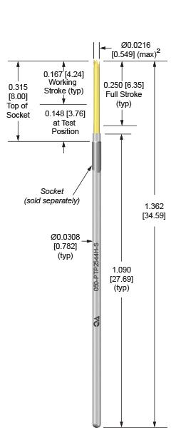 50mil 250 Stroke probes for loaded board testing