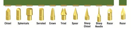 image of various tip styles contacting gold plated pads