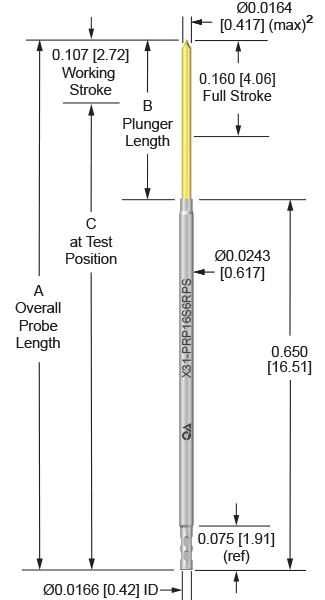 39mil 160 Stroke Socketless Probe for loaded board testing