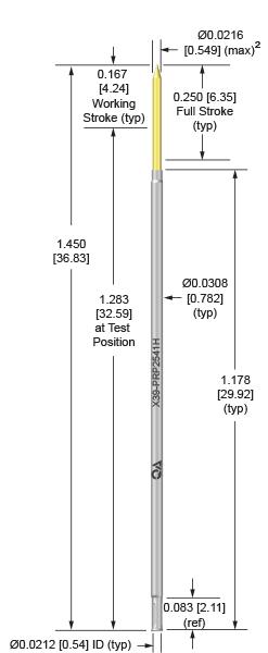 39mil 250 Stroke Socketless Probe for loaded board testing